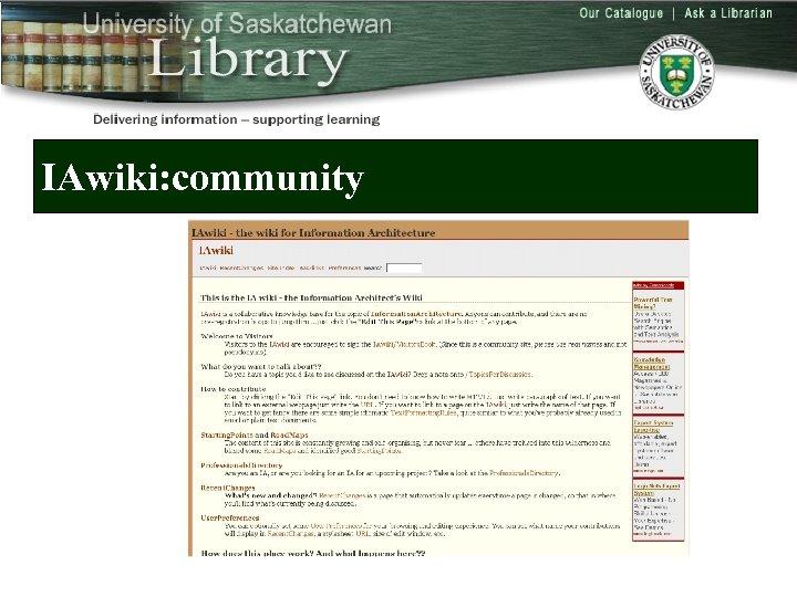 IAwiki: community