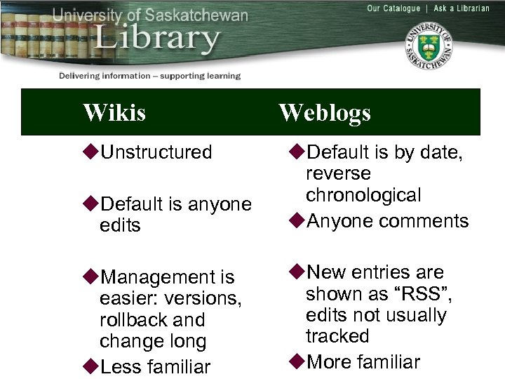 Wikis u. Unstructured Weblogs u. Default is anyone edits u. Default is by date,
