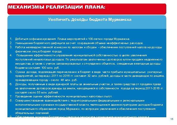 МЕХАНИЗМЫ РЕАЛИЗАЦИИ ПЛАНА: Увеличить доходы бюджета Мурманска 1. Добиться софинансирования Плана мероприятий к 100