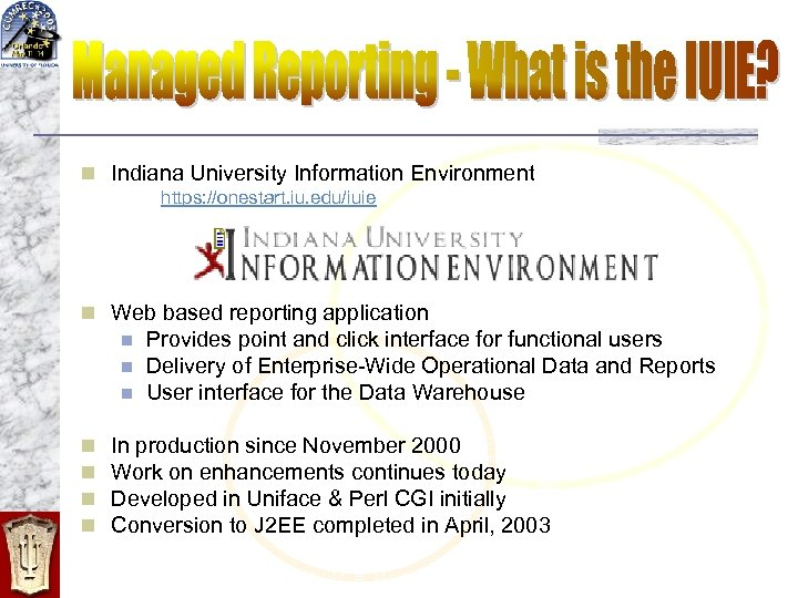 n Indiana University Information Environment https: //onestart. iu. edu/iuie n Web based reporting application