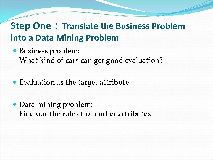 Step One:Translate the Business Problem into a Data Mining Problem Business problem: What kind