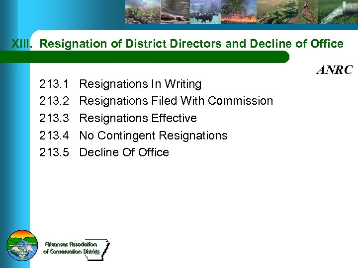 XIII. Resignation of District Directors and Decline of Office 213. 1 213. 2 213.