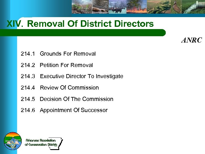 XIV. Removal Of District Directors ANRC 214. 1 Grounds For Removal 214. 2 Petition