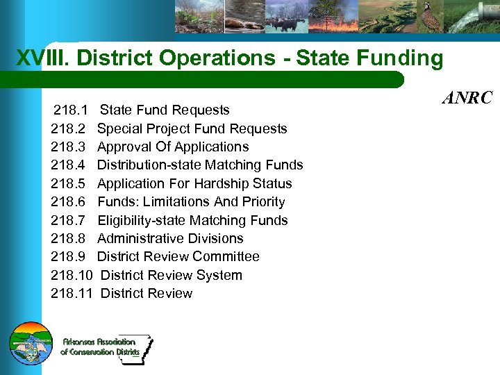 XVIII. District Operations - State Funding 218. 1 State Fund Requests 218. 2 Special