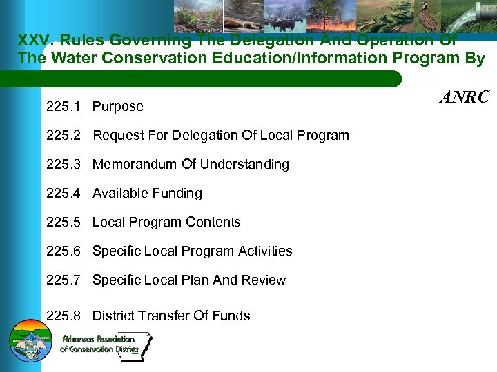 XXV. Rules Governing The Delegation And Operation Of The Water Conservation Education/Information Program By