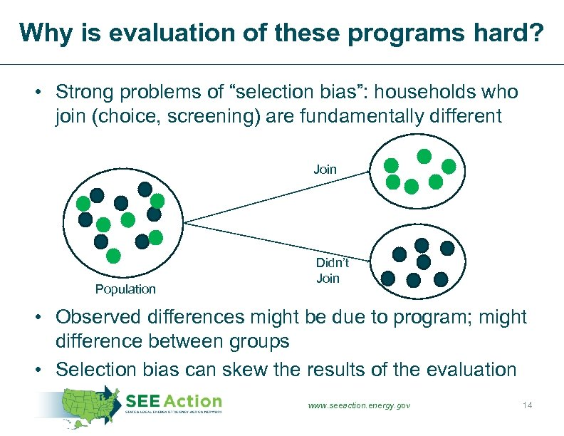 "Why is evaluation of these programs hard? • Strong problems of ""selection bias"": households"