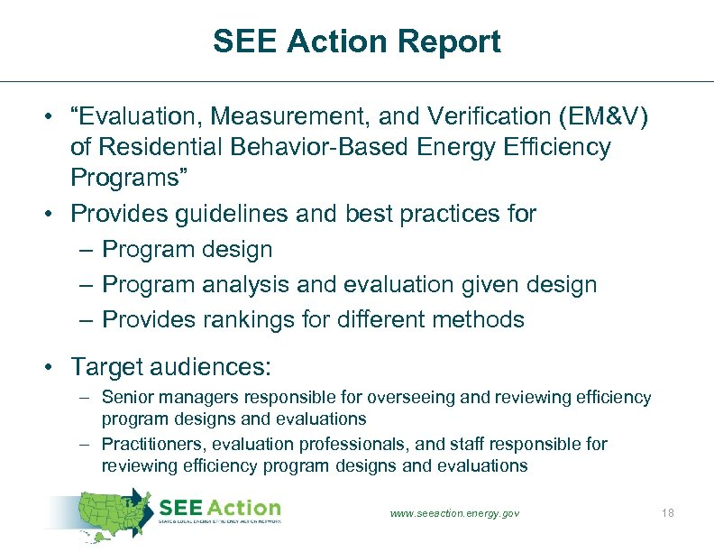 "SEE Action Report • ""Evaluation, Measurement, and Verification (EM&V) of Residential Behavior-Based Energy Efficiency"