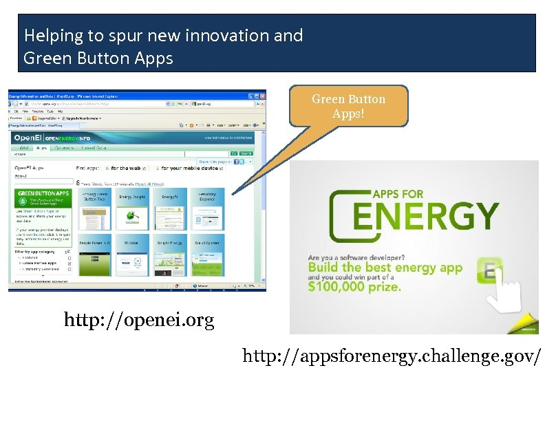 Helping to spur new innovation and Green Button Apps! http: //openei. org http: //appsforenergy.