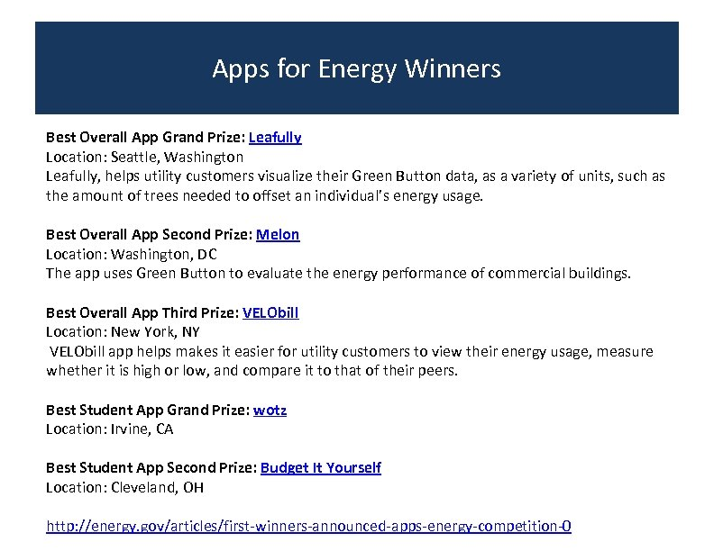 Apps for Energy Winners Best Overall App Grand Prize: Leafully Location: Seattle, Washington Leafully,