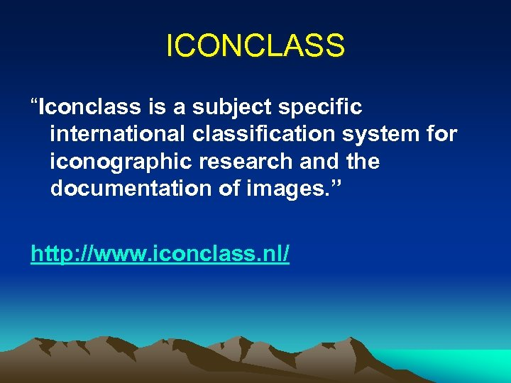 "ICONCLASS ""Iconclass is a subject specific international classification system for iconographic research and the"