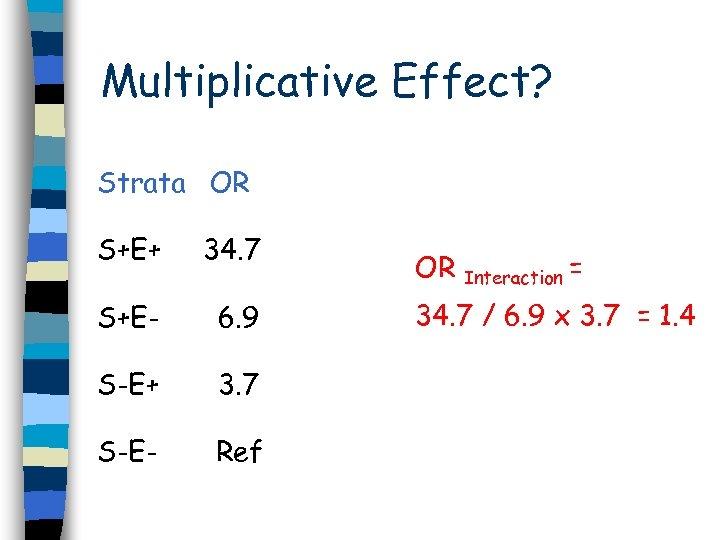 Multiplicative Effect? Strata OR S+E+ 34. 7 S+E- 6. 9 S-E+ 3. 7 S-E-