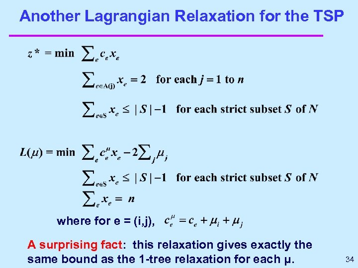 Another Lagrangian Relaxation for the TSP where for e = (i, j), A surprising