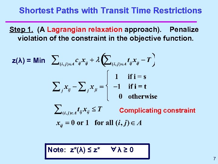 Shortest Paths with Transit Time Restrictions Step 1. (A Lagrangian relaxation approach). Penalize violation