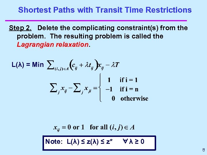 Shortest Paths with Transit Time Restrictions Step 2. Delete the complicating constraint(s) from the