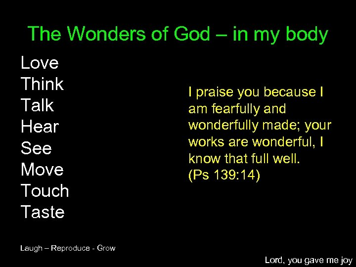 The Wonders of God – in my body Love Think Talk Hear See Move