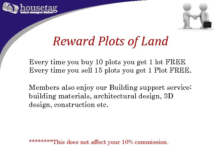 Reward Plots of Land Every time you buy 10 plots you get 1 lot