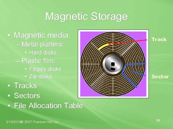 Magnetic Storage • Magnetic media: – Metal platters: Track • Hard disks – Plastic