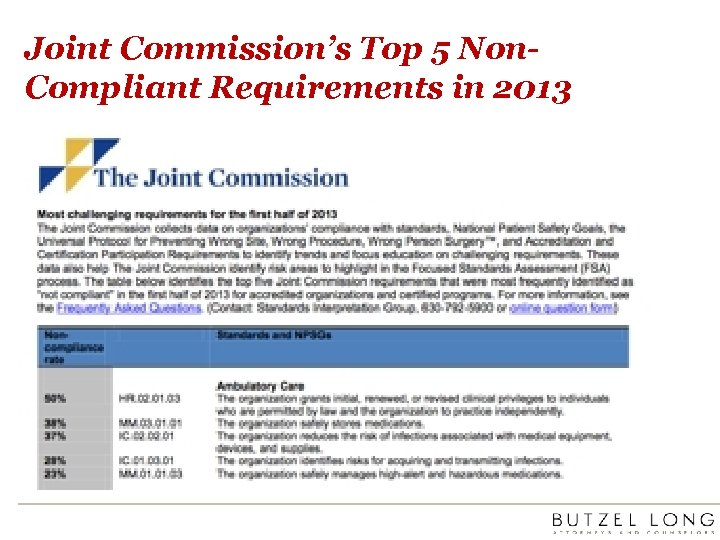 Joint Commission's Top 5 Non. Compliant Requirements in 2013