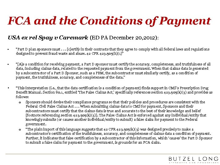 FCA and the Conditions of Payment USA ex rel Spay v Caremark (ED PA