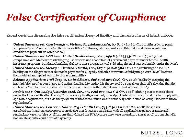False Certification of Compliance Recent decisions discussing the false certification theory of liability and