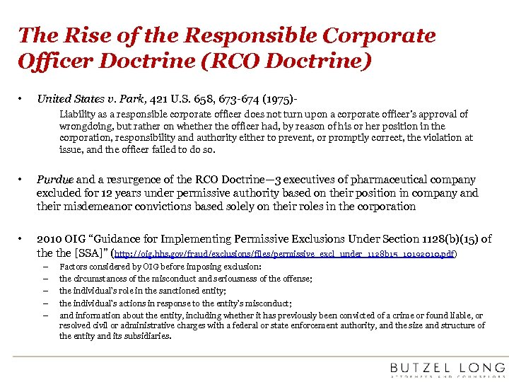 The Rise of the Responsible Corporate Officer Doctrine (RCO Doctrine) • United States v.