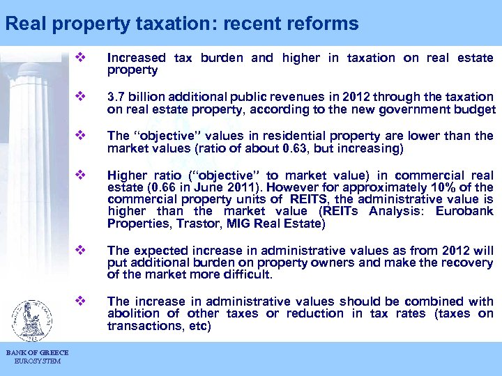 Real property taxation: recent reforms v v 3. 7 billion additional public revenues in