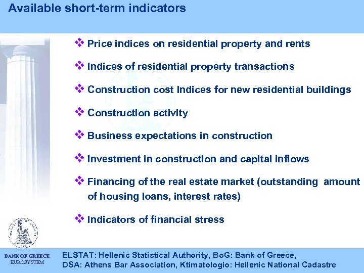 Available short-term indicators v Price indices on residential property and rents v Indices of