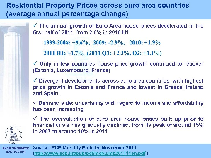 Residential Property Prices across euro area countries (average annual percentage change) ü The annual