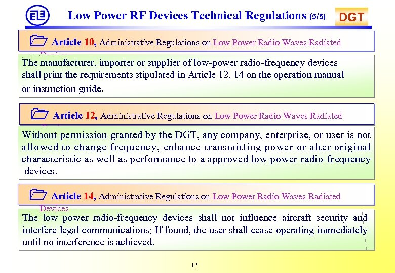 Low Power RF Devices Technical Regulations (5/5) DGT Article 10, Administrative Regulations on Low