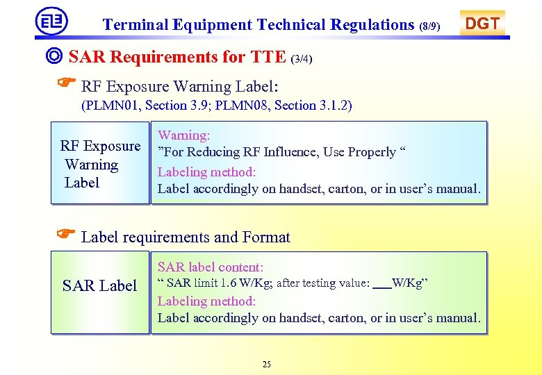 Terminal Equipment Technical Regulations (8/9) DGT ◎ SAR Requirements for TTE (3/4) RF Exposure