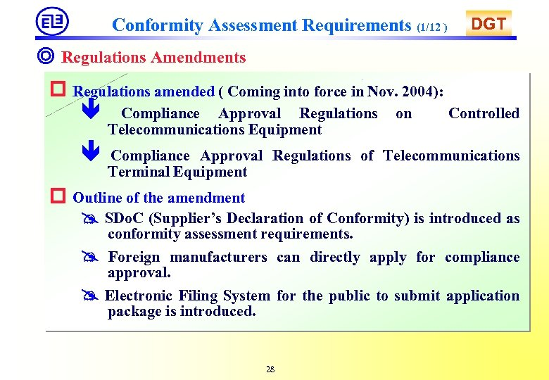 Conformity Assessment Requirements (1/12 ) DGT ◎ Regulations Amendments Regulations amended ( Coming into