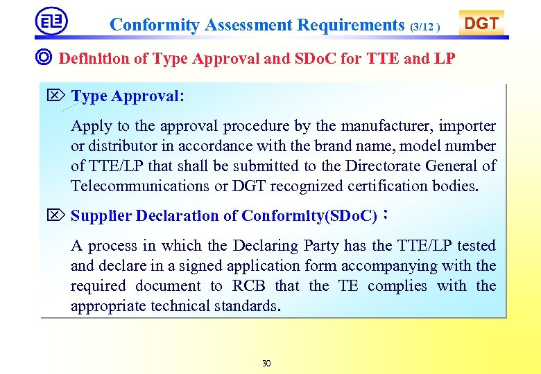 Conformity Assessment Requirements (3/12 ) DGT ◎ Definition of Type Approval and SDo. C