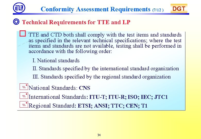 Conformity Assessment Requirements (7/12 ) DGT ◎ Technical Requirements for TTE and LP o