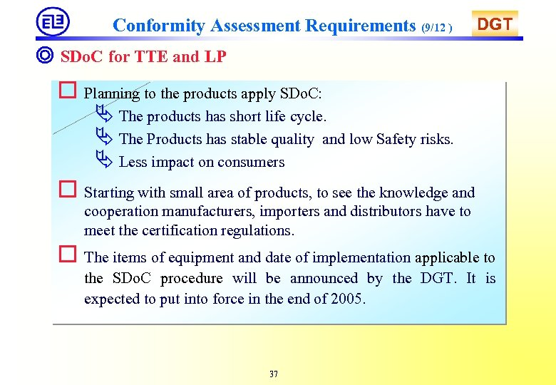 Conformity Assessment Requirements (9/12 ) DGT ◎ SDo. C for TTE and LP o