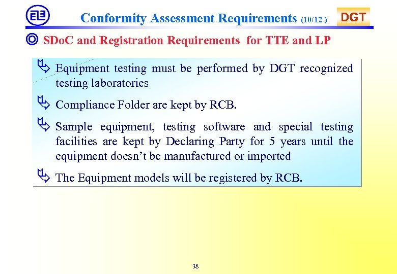 Conformity Assessment Requirements (10/12 ) DGT ◎ SDo. C and Registration Requirements for TTE