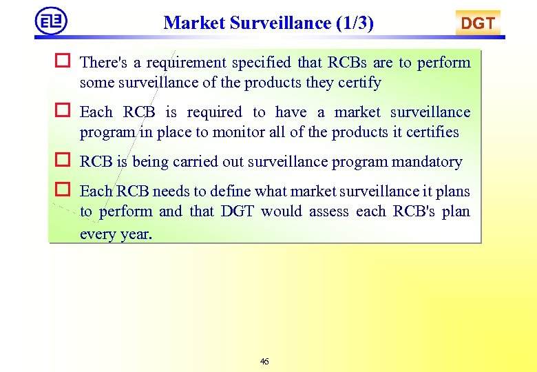 Market Surveillance (1/3) DGT o There's a requirement specified that RCBs are to perform