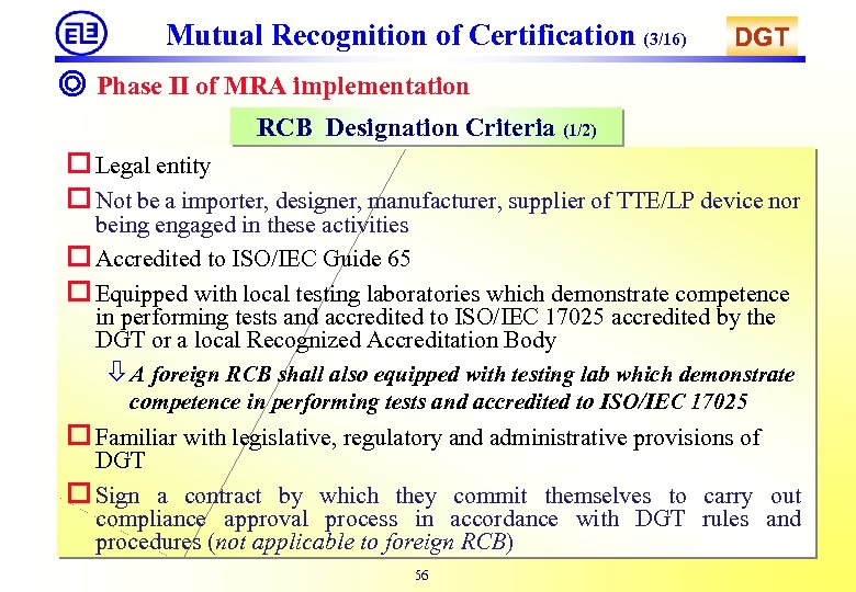 Mutual Recognition of Certification (3/16) DGT ◎ Phase II of MRA implementation RCB Designation