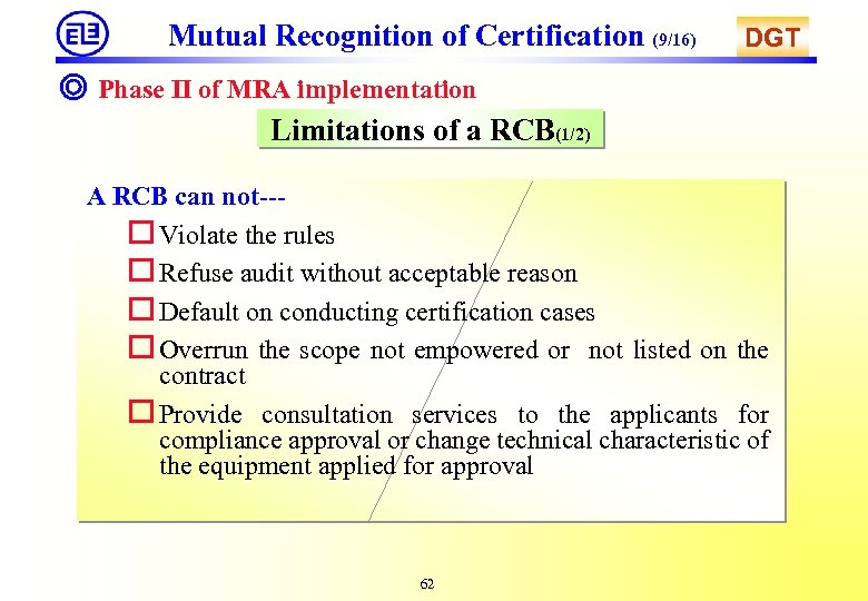 Mutual Recognition of Certification (9/16) DGT ◎ Phase II of MRA implementation Limitations of