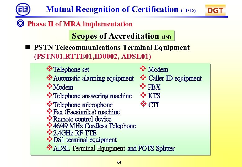 Mutual Recognition of Certification (11/16) ◎ Phase II of MRA implementation Scopes of Accreditation
