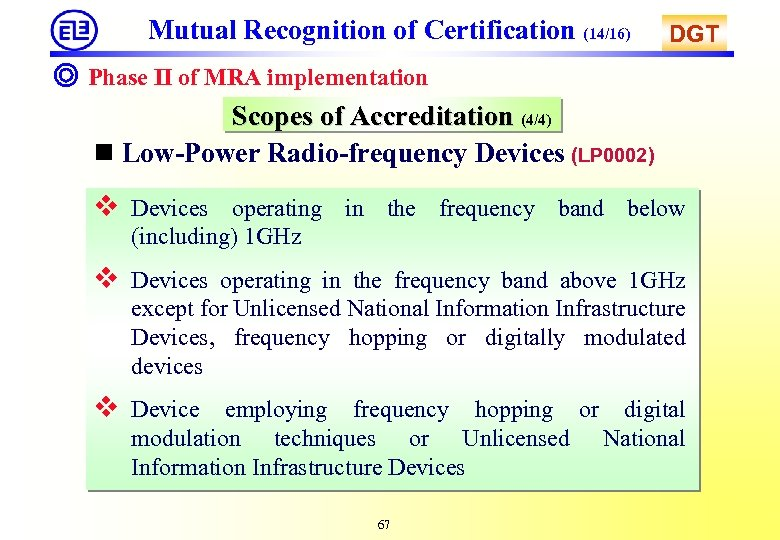 Mutual Recognition of Certification (14/16) DGT ◎ Phase II of MRA implementation Scopes of