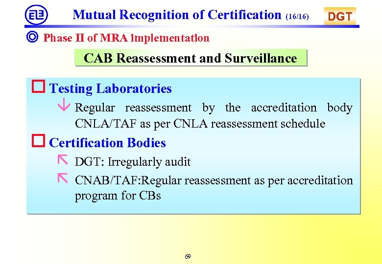 Mutual Recognition of Certification (16/16) DGT ◎ Phase II of MRA implementation CAB Reassessment