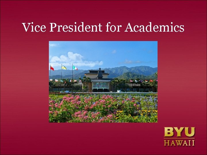 Vice President for Academics
