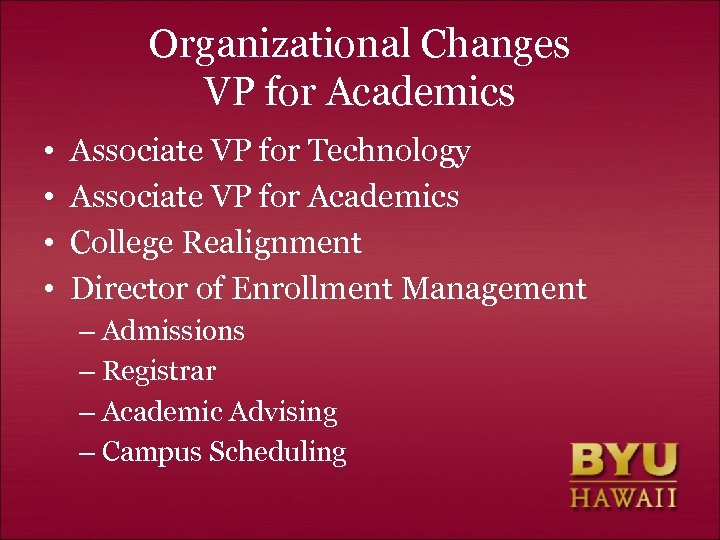 Organizational Changes VP for Academics • • Associate VP for Technology Associate VP for