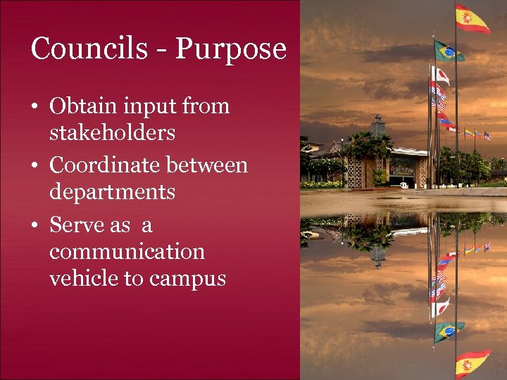 Councils - Purpose • Obtain input from stakeholders • Coordinate between departments • Serve