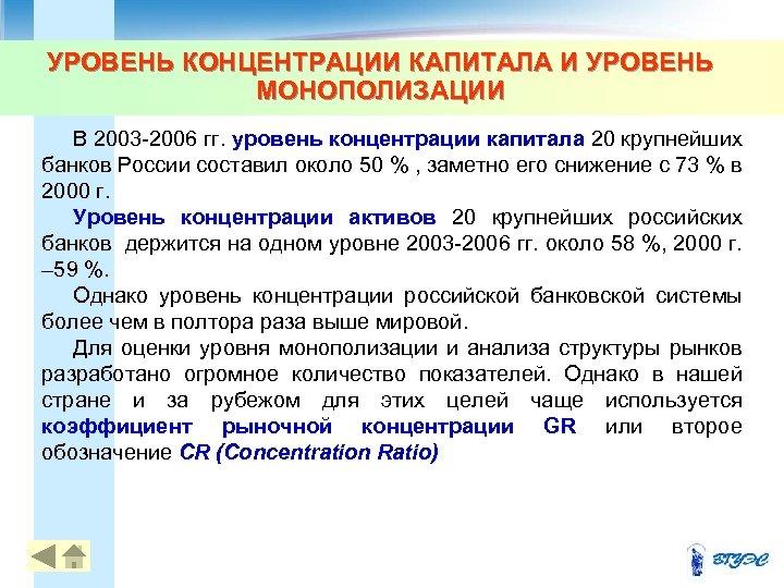 УРОВЕНЬ КОНЦЕНТРАЦИИ КАПИТАЛА И УРОВЕНЬ МОНОПОЛИЗАЦИИ В 2003 -2006 гг. уровень концентрации капитала 20