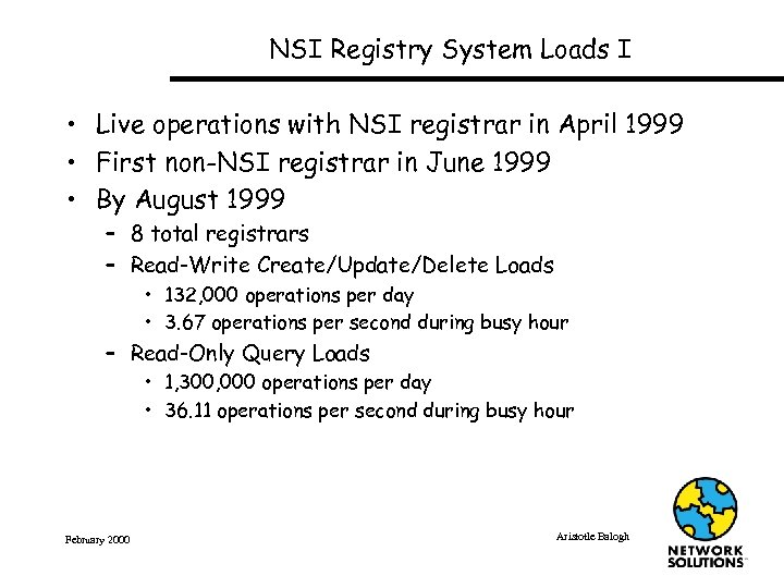 NSI Registry System Loads I • Live operations with NSI registrar in April 1999