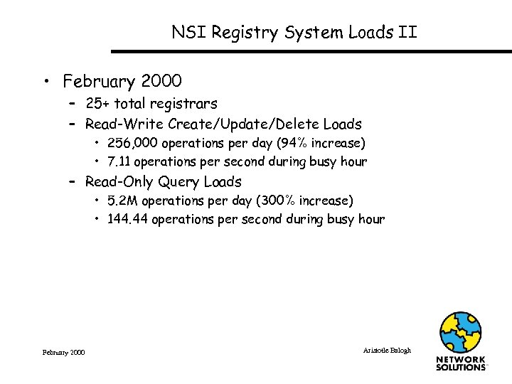 NSI Registry System Loads II • February 2000 – 25+ total registrars – Read-Write