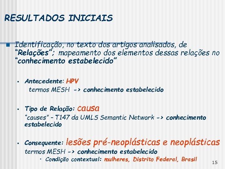 """RESULTADOS INICIAIS n Identificação, no texto dos artigos analisados, de """"Relações""""; mapeamento dos elementos"""
