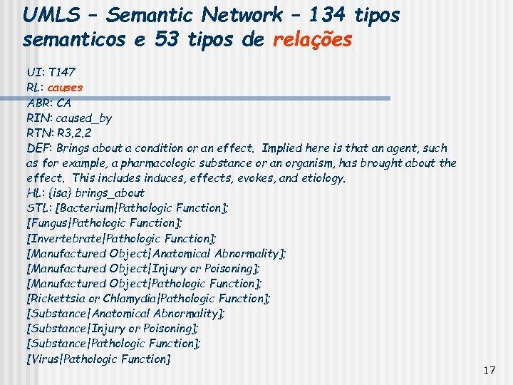 UMLS – Semantic Network – 134 tipos semanticos e 53 tipos de relações UI: