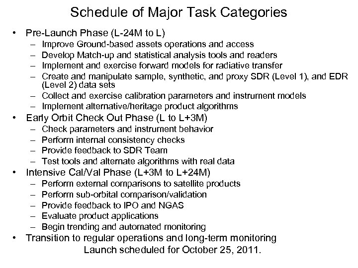 Schedule of Major Task Categories • Pre-Launch Phase (L-24 M to L) – –